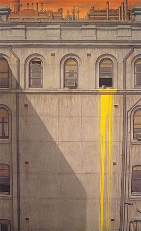 Canary Yellow is an example of Robert Clinch's contemporary urban realism painted in Gouache, watercolour and drybrush
